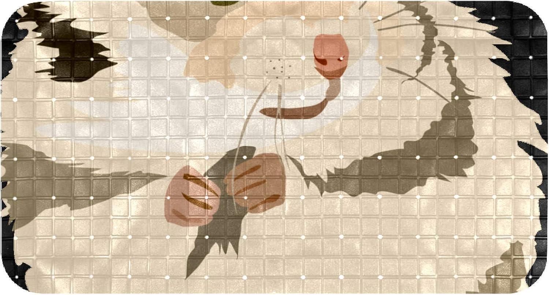Yoliveya - Alfombrilla antideslizante para bañera, diseño de hámster con agujeros de drenaje y ventosas, para bañera, ducha, bañera (35,7 x 26,9 pulgadas)