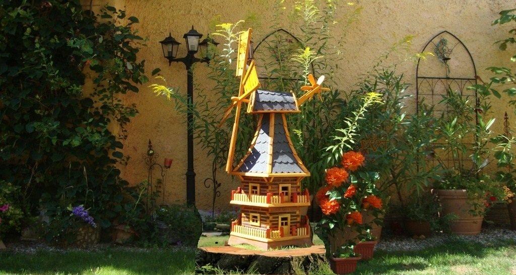 Holz-Windmühle, wetterfest,robust mit Bitumen, MIT WINDFAHNE Windrad-Seitenruder, Windmühlen Garten, imprägniert + kugelgelagert 1,40 m groß DOPPELSTÖCKIG 2-stöckig in schwarz anthrazit dunkelgrau dunkel