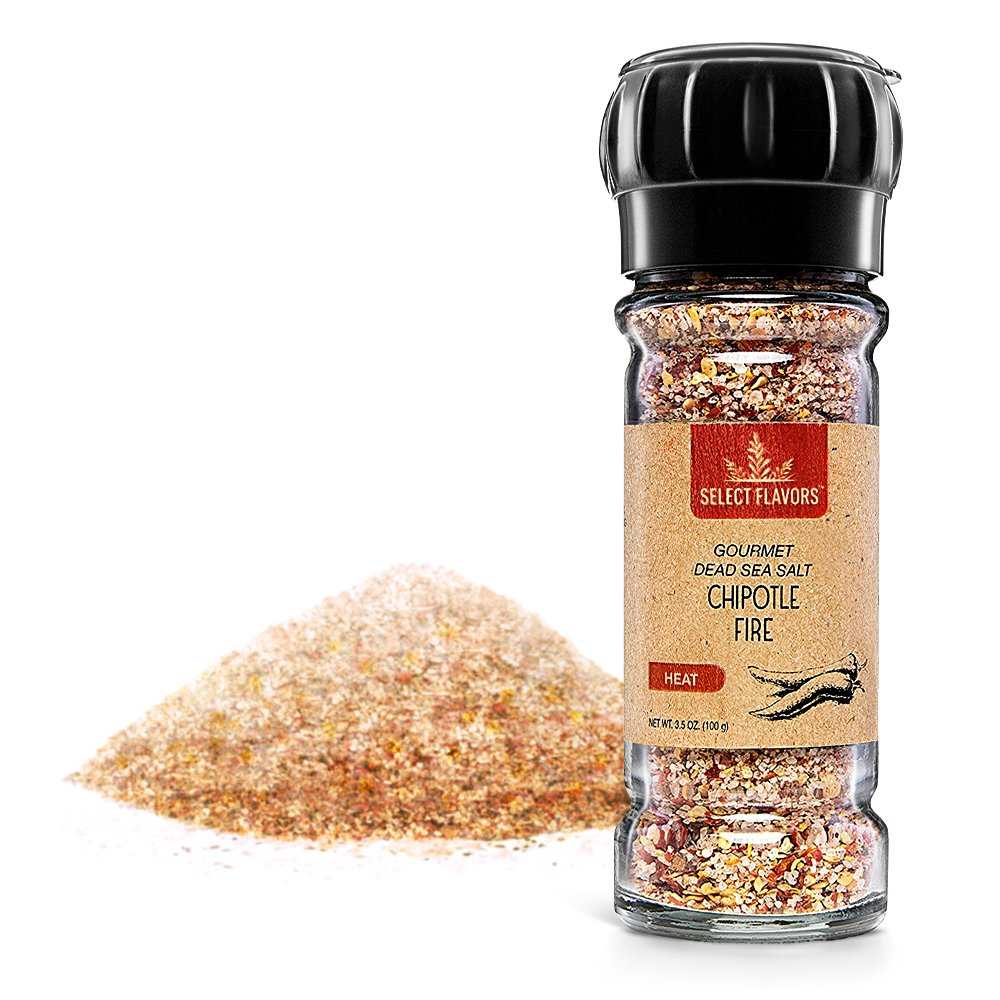 Select Flavors Chipotle Fire Gourmet BBQ Meat Seasoning Rub, Hot, Smoky, and Spicy, 3.5 oz Grinder Top