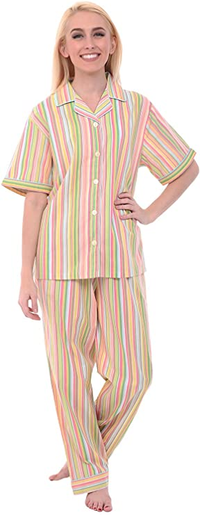 Vintage Nightgowns, Pajamas, Baby Dolls, Robes Alexander Del Rossa Womens Lightweight Button Down Pajama Set Short Sleeved Printed Cotton Pjs $27.99 AT vintagedancer.com