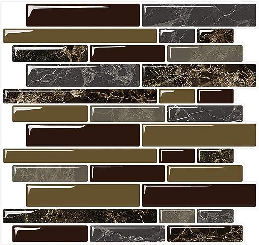 Amazon Com Yipscazo Peel And Stick Backsplash Tile For Kitchen Kitchen Backsplash Peel And Stick In Dark Brown 10 Sheets 10 X10 Home Kitchen