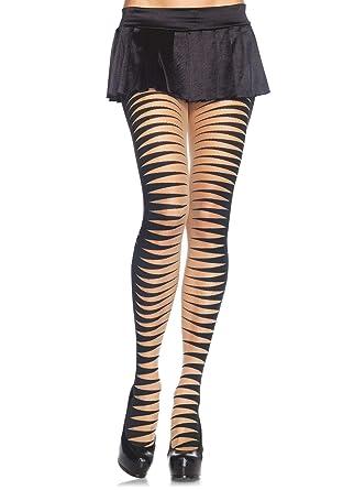 821365d9a395f Dazzling Leg Avenue Sheer Woven Cirque Illusion Strip Pantyhose,  Nude/Black, One Size: Amazon.co.uk: Clothing
