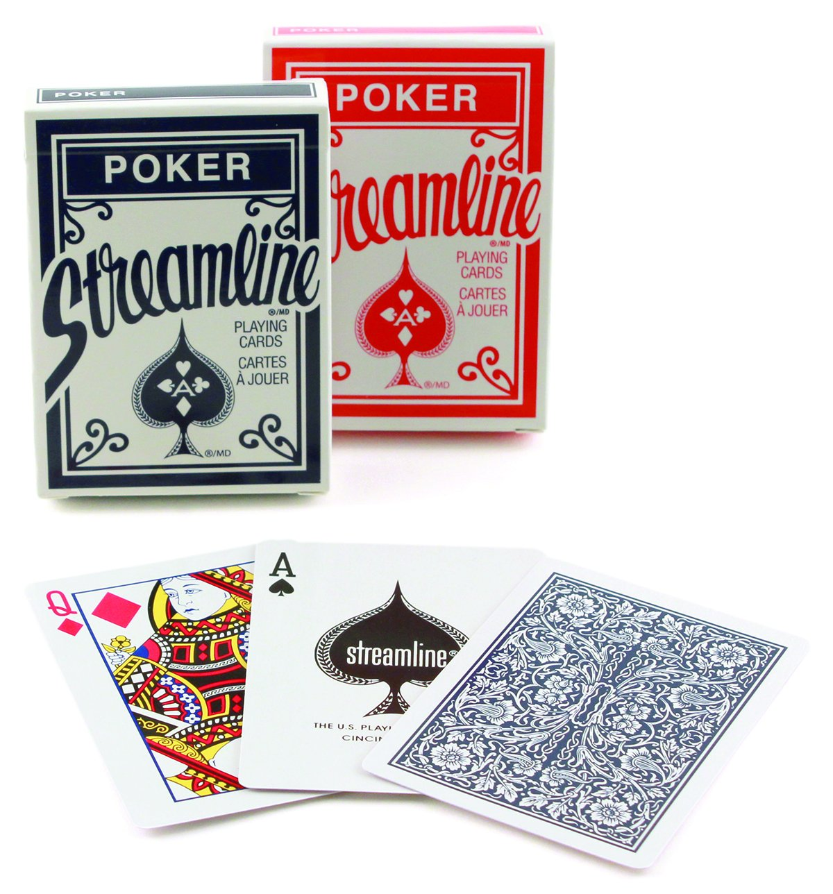 Amazon.com: Streamline Playing Cards, One Deck (Red or Blue): Sports ...