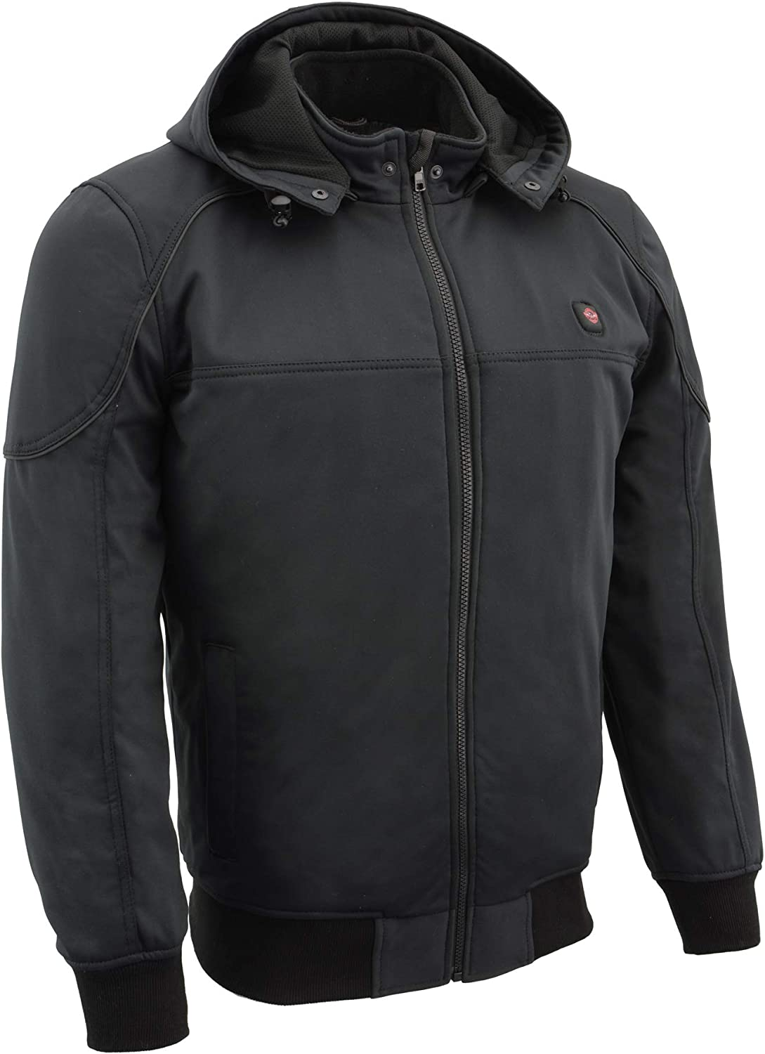 Milwaukee Leather-Mens Soft Shell Heated Racing Style Jacket w//Detachable Hood-BLACK-3X