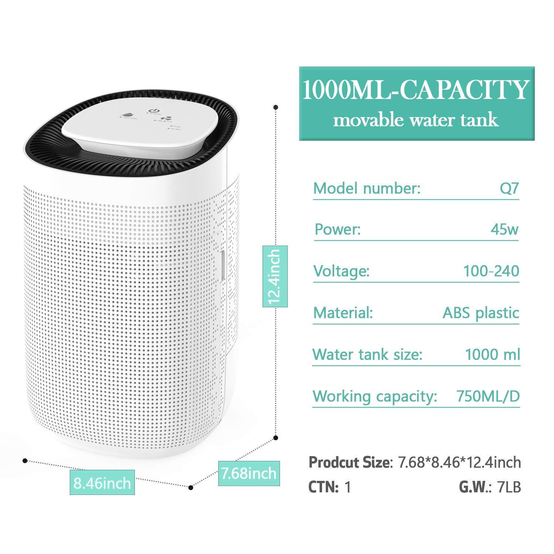 Honati Small Dehumidifier,Ultra-quiet Mini Portable Bedroom /& Office Kitchen Basement Air Dehumidifier 1000ml