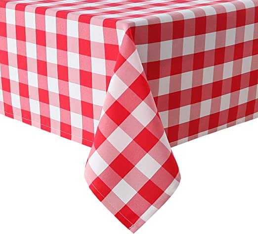 Gingham Tablecloth Checkered Red White Checks Linen Polyester Plaid Rectangle