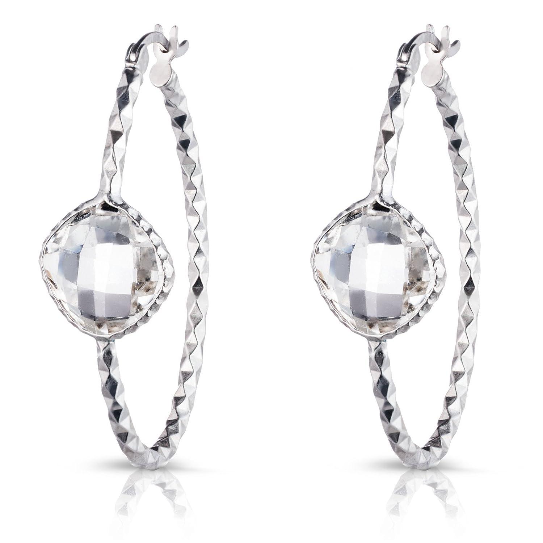 Sterling Silber Schachbrett Diamantschliff Oval Ohrring mit echtem Halbedelstein Stein 1267EL-F