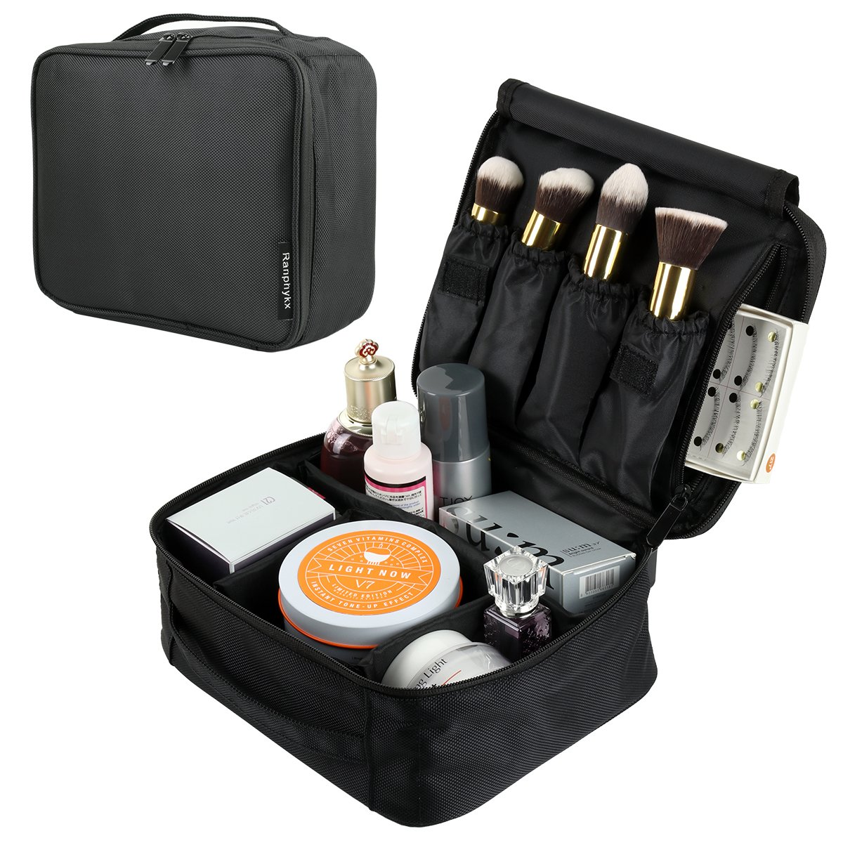 Makeup Train Case, Ranphykx 9.8 Portable Travel Makeup Bag with Adjustable Dividers
