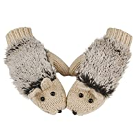 Double Layer Winter Thicken Warm Kint Mittens Cartoon Hedgehog Gloves