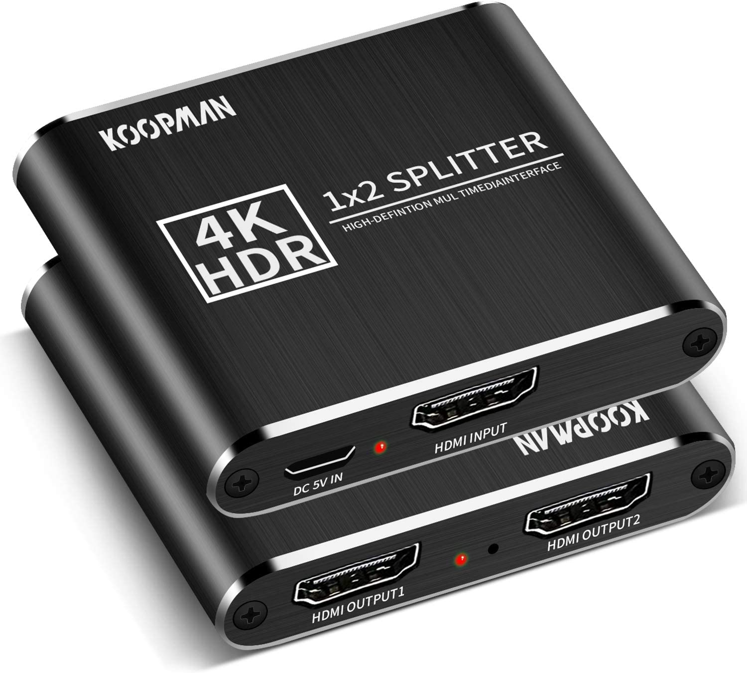 HDMI Splitter 1 in 2 Out, Koopman 4K Aluminum Powered V1.4 HDMI Splitter Supports 4K 30Hz, Full HD 1080p and 3D for Xbox PS4 PS3 Nintendo Consoles Fire Stick Roku Apple TV Blu-Ray Player HDTV