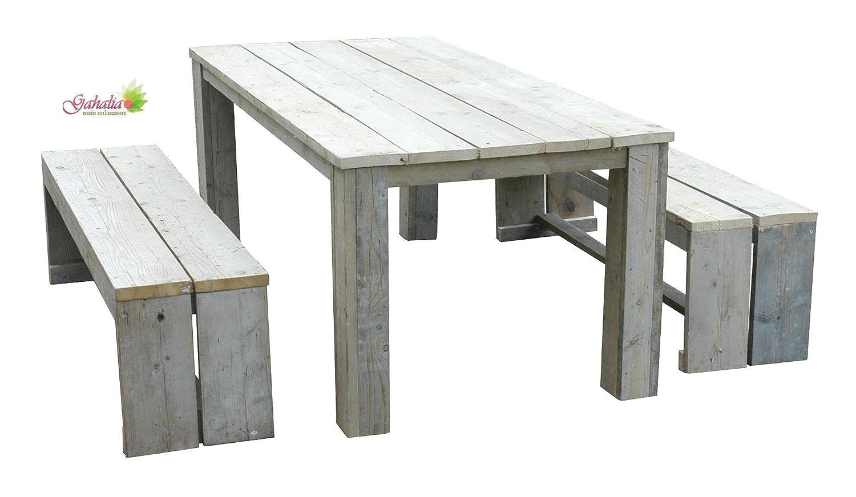 Bauholz Möbel Set Gahalia 3tlg. Tisch 240x100cm und 2x Bank 240x40x46cm