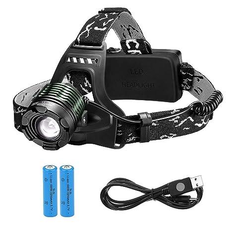TOPELEK Linterna Frontal LED Recargable Alta Potencia 3000 Lúmenes, Linterna Cabeza con 4 Modos, Haz Luminoso Múltiple, Autonomía hasta 16H, ...