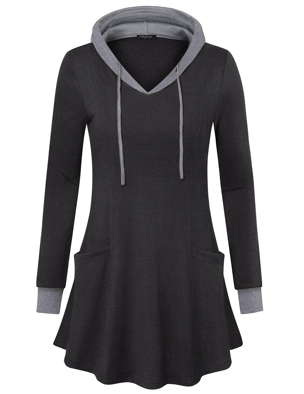 VALOLIA Women Tunic Hoodies Long Sleeve Pocket Crewneck Dressy Shirts Black XX-Large