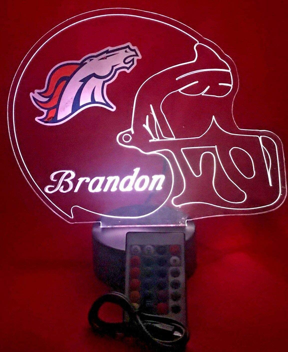 Denver Broncos NFL Light Up Lamp LED Personalized Free Football Light Up Light Lamp LED Table Lamp, Our Newest Feature - It's Wow, with Remote, 16 Color Options, Dimmer, Free Engraved, Great Gift