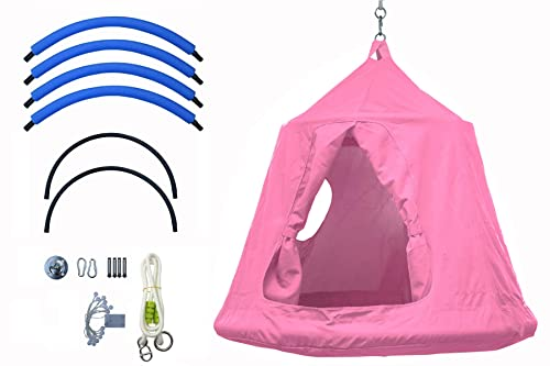 Outdoor Waterproof Backyard Play Center Hanging Tree House Camping Hammock Tent Indoor Bedroom Swing Chair with Lamp String for Accommodating 2 Children – Pink