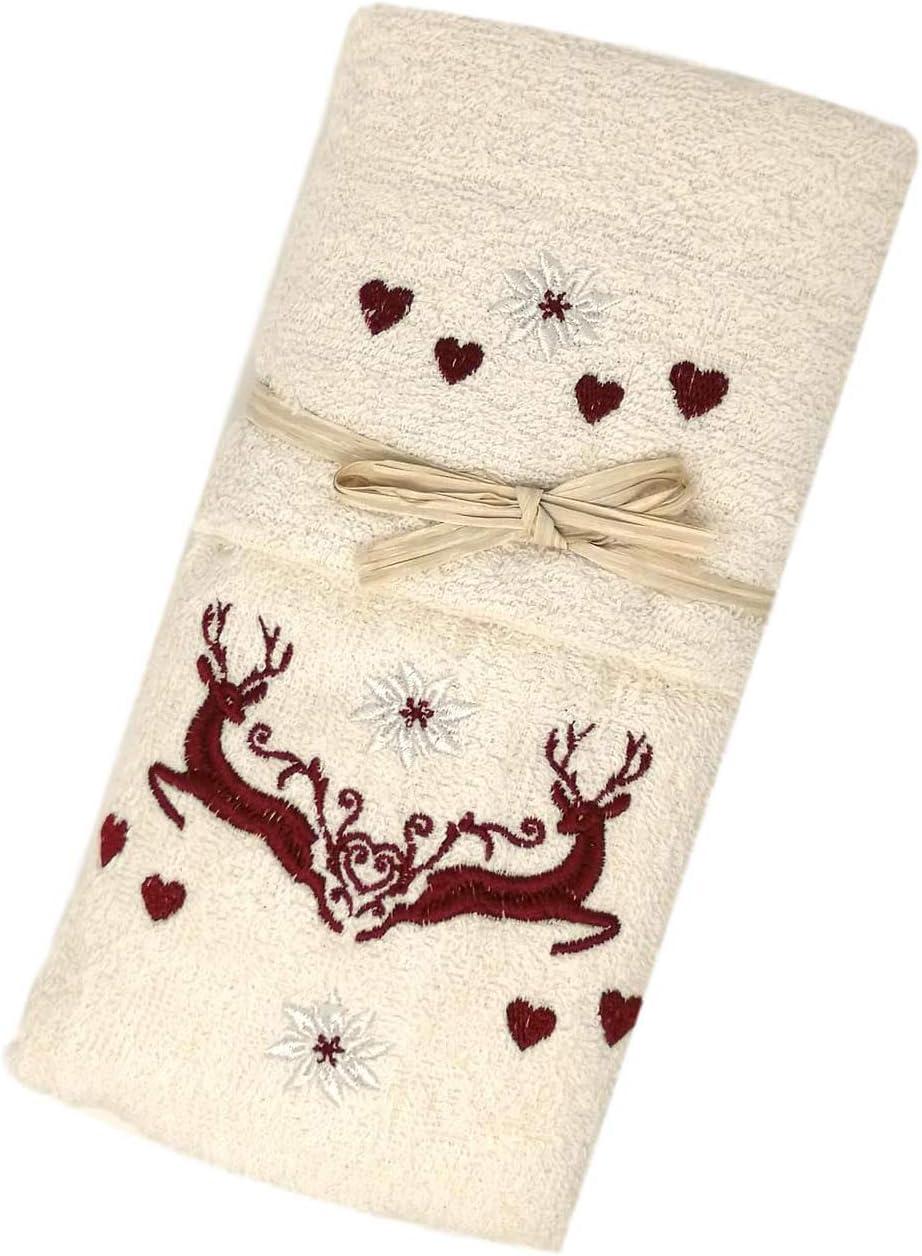 Spugna 400GSM GoldenHome Set Asciugamani OSPITE Bianco SALVIETTA Motivo Cuore Renna Natalizio Idea Regalo Natale