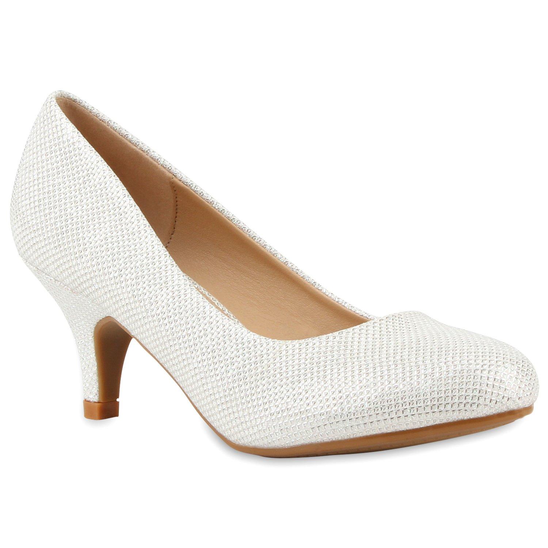 Stiefelparadies Damen Klassische Pumps Flandell Wei018 Letztes Modell  Mode Schuhe Billig Online-Verkauf