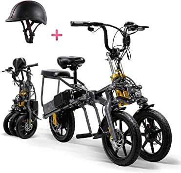 BOC Quino eléctrico triciclo para adultos plegable de tres ruedas de la montaña de bicicleta eléctrica Mini Scooter hasta 30 kilometros 25 kilometros/H batería de litio de tres modos de velocidad r: