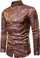 Reooly Camisa de Hombre Camisa de Manga Larga con Rayas Delgadas Camisa Casual con Botones Top Formal