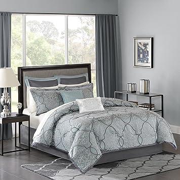 Madison Park MP10 1667 Lavine 12Piece Jacquard Comforter Set Cal King ,  Blue , Cal