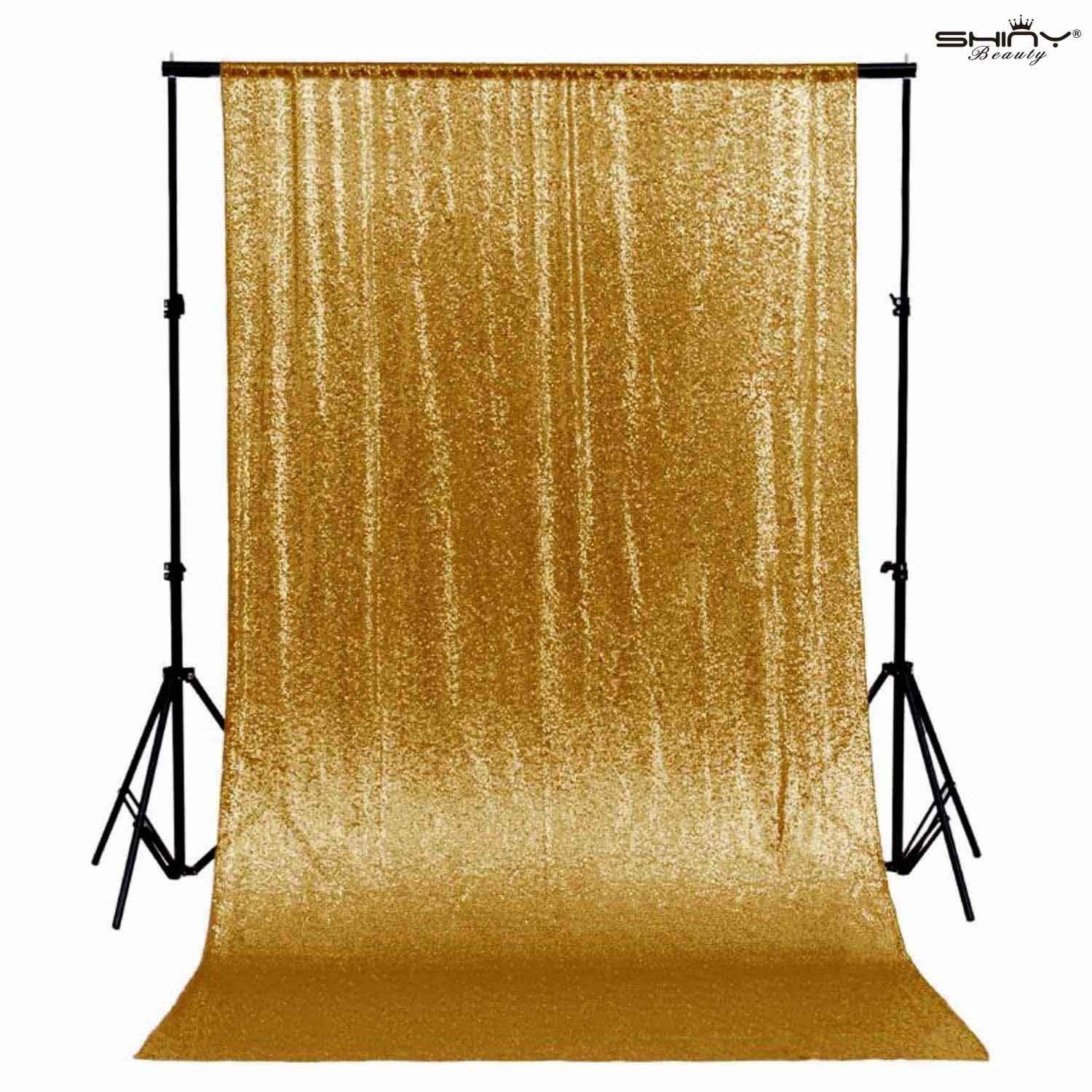 Gold Shimmer Sequin Fabric Photography Backdrop (10FTX10FT) by ShiDianYi