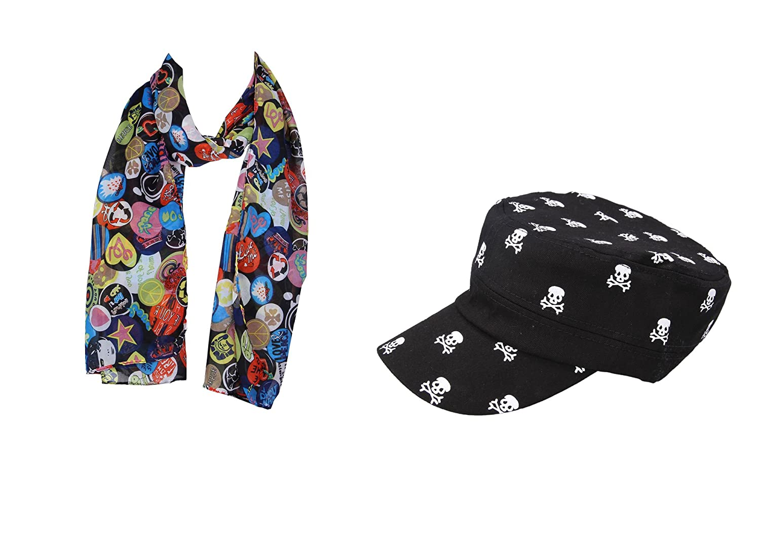 JTC Women Printed Scarf and Skull Black Baseball Cap Set