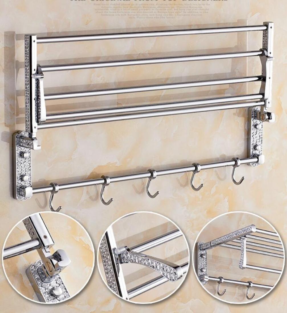 GL&G European luxury Silver Bathroom Bath Towel Rack Oxidation Bathroom Shelf Shower Bathroom Storage Organizer Shelf Wall Mount Bathroom Accessories Bathroom Shelves,6023.513.5cm by GAOLIGUO (Image #3)