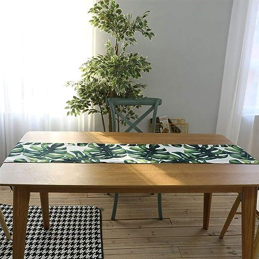 xuba Mantel Camino de mesa impresión digital algodón Lino Hoja de ...