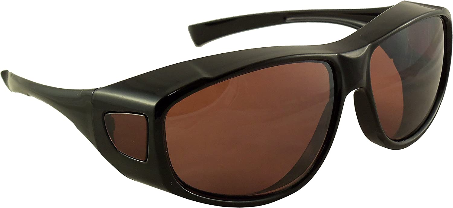 Sun Shield Fit Over Sunglasses with Blue Blocker HD Driving Lens - Wear Over Prescription Glasses