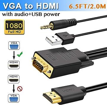 Cable adaptador VGA a HDMI de 2 m con audio (antiguo PC a nuevo televisor o