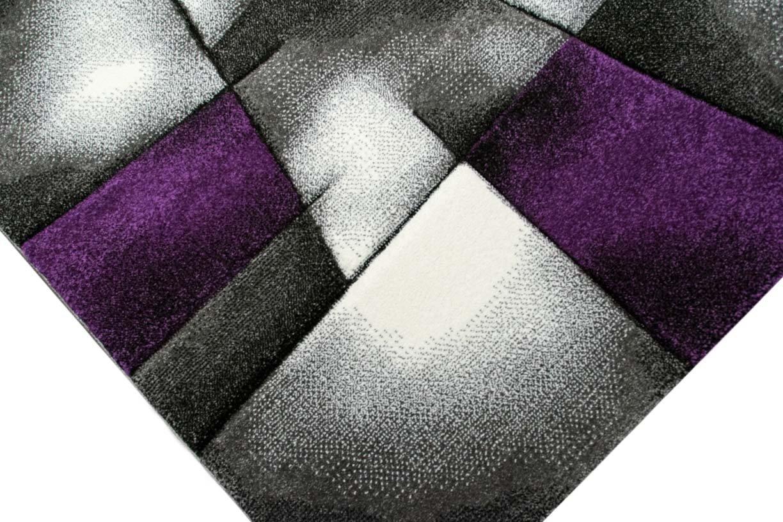 Designer Teppich Moderner Teppich Wohnzimmer Teppich Kurzflor Teppich mit mit mit Konturenschnitt Karo Muster Lila Grau Weiss Schwarz Größe 200 x 290 cm B013YY0C4C Teppiche 273764