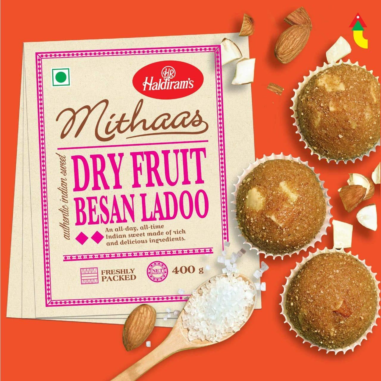 Haldiram's Mithas Besan Ladoo - Dry Fruit, 400 g
