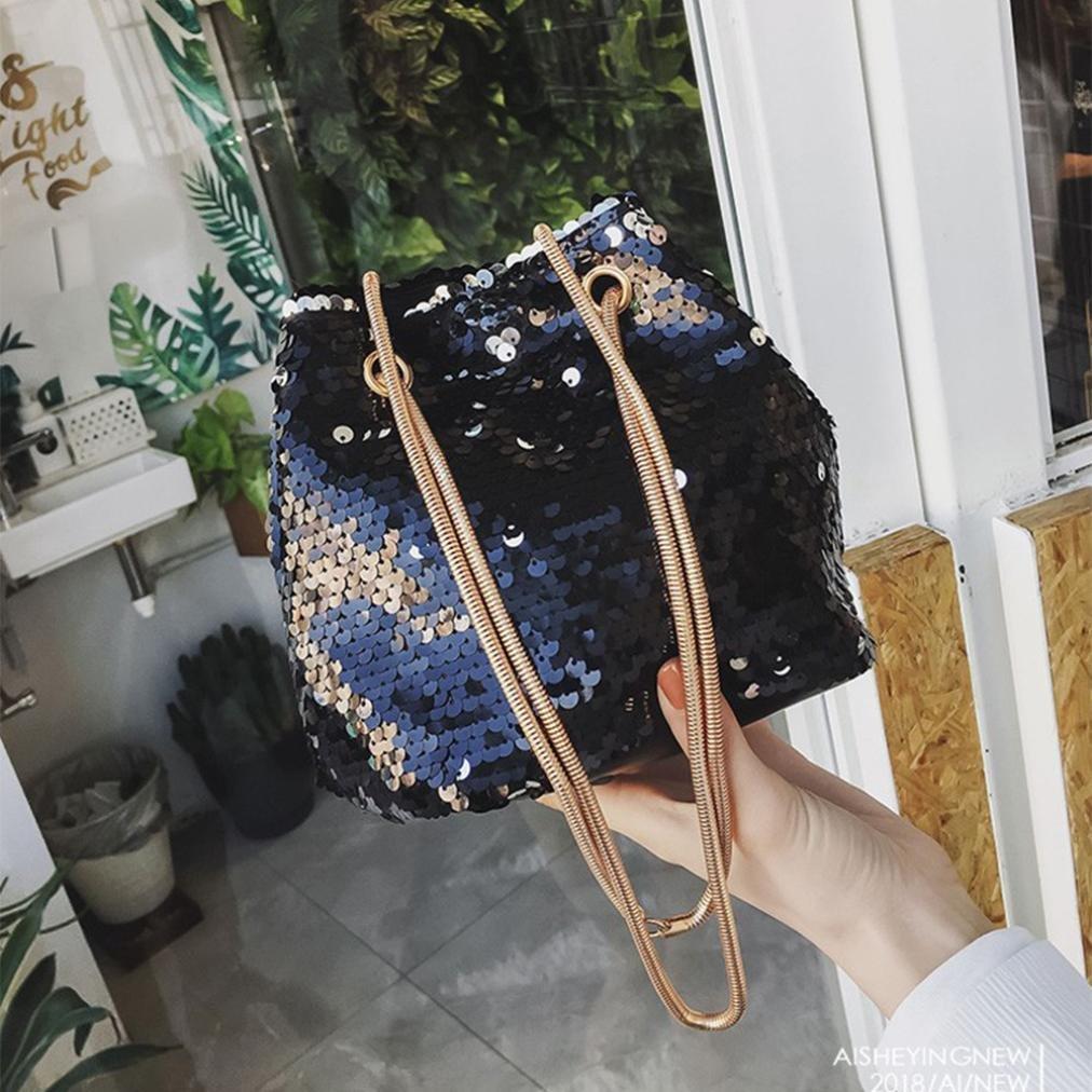 Toamen Bolso De Hombro De Moda De Mujer Bolso Femenino Del Cubo De Las Lentejuelas De Bling