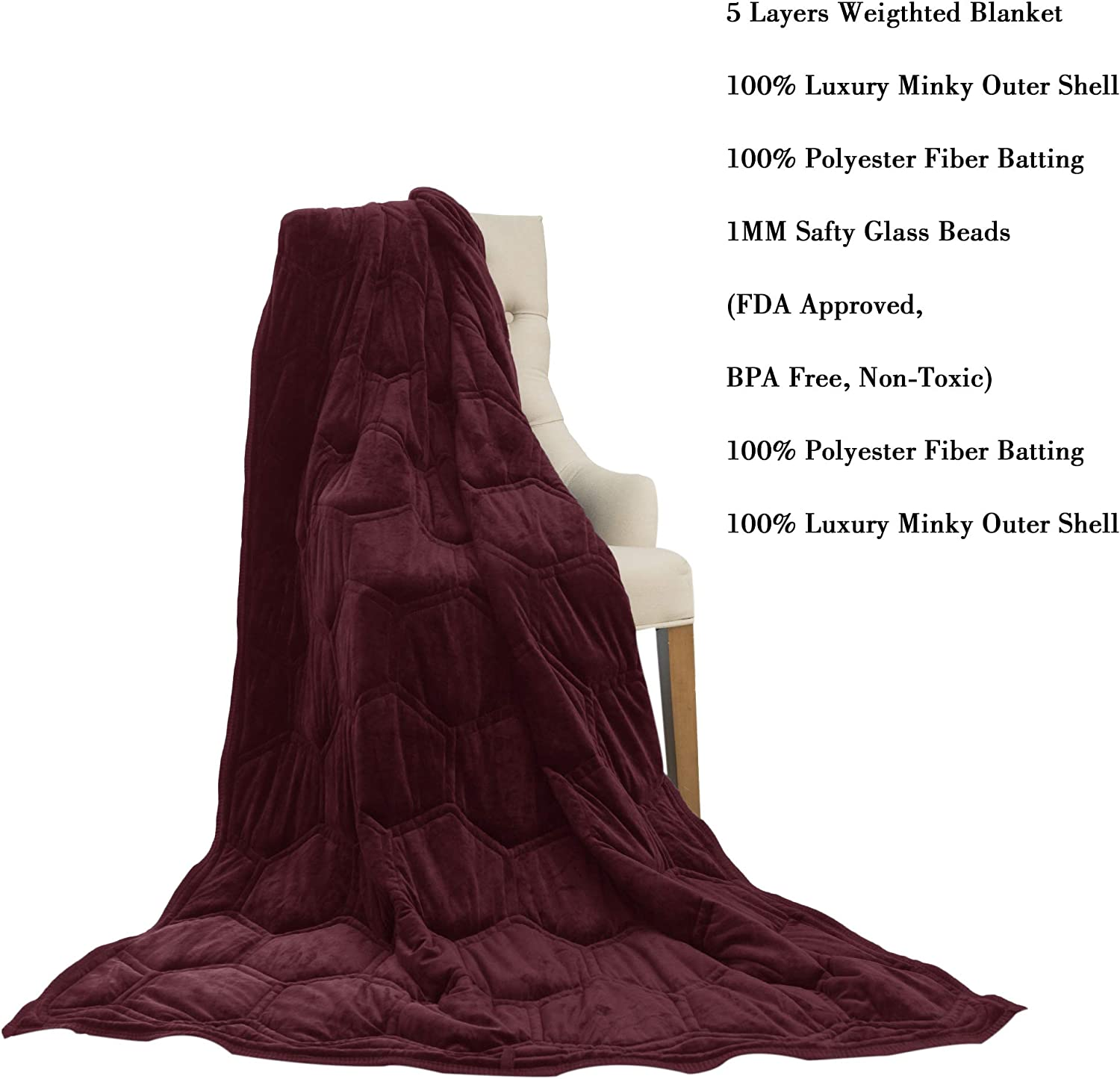 Chocolate, 36x48 5LB CHHKON Weighted Blanket Ultra Plush Minky Warm Luxury New Pattern Design for Adults and Children