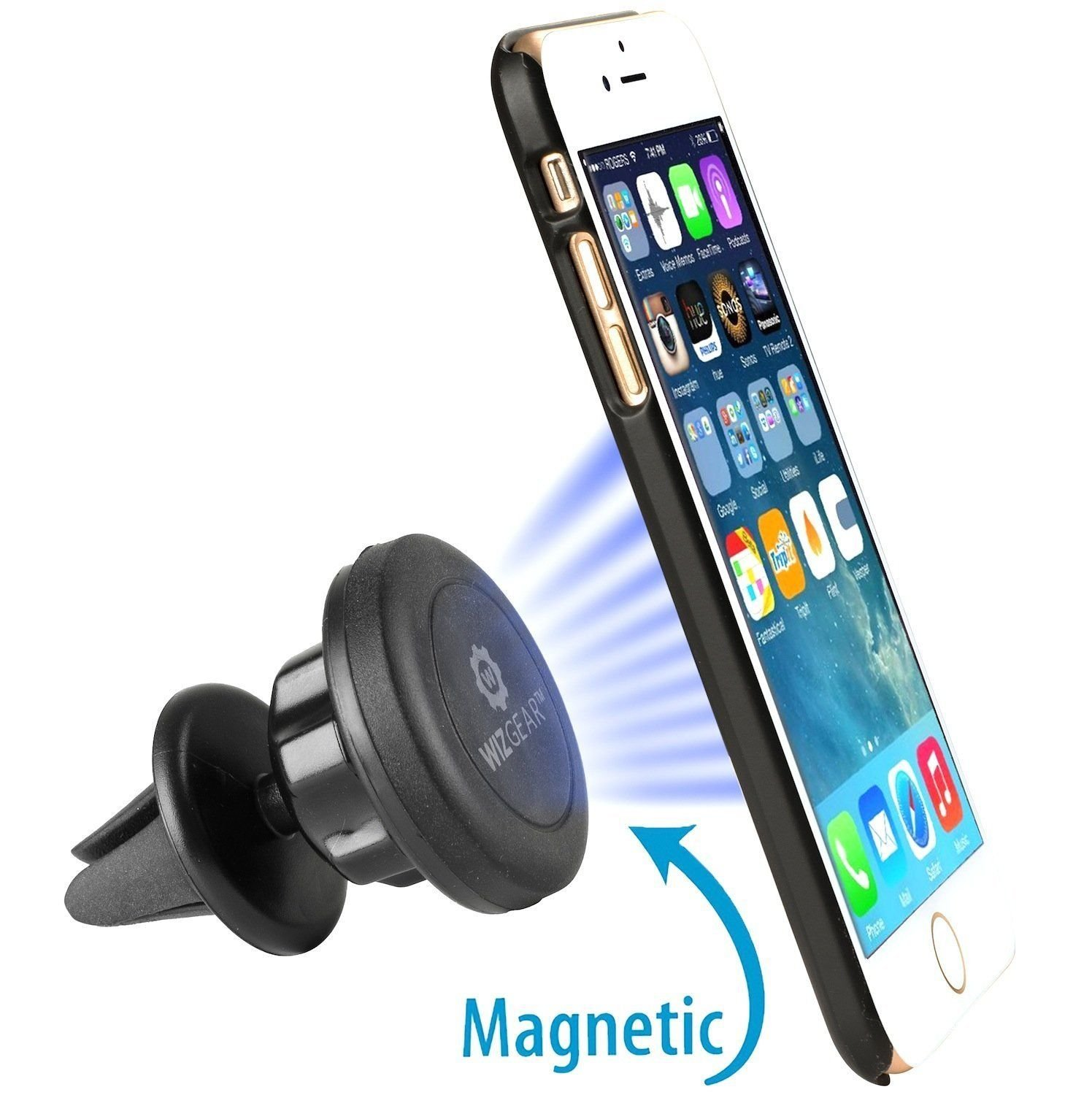 WizGear Universal Air Vent Magnetic Car Mount Holder for Cell Phones and Mini Tablets with Fast Swift-Snap Technology Magnetic Cell Phone Mount with Swivel Head UG-air-vent-Magnetic-mount