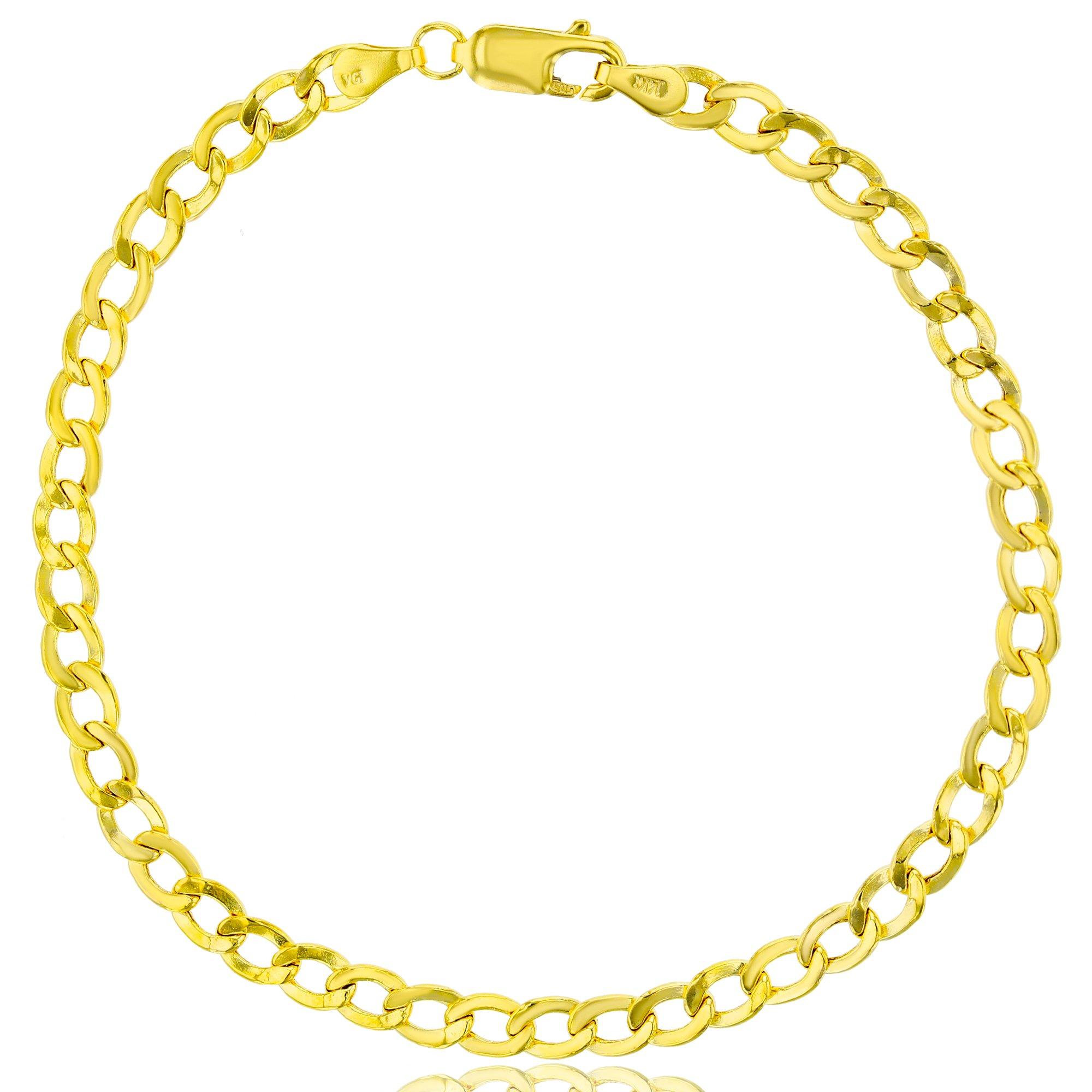 14K Yellow Gold 100 4.30MMLite Cuban 8'' Chain Bracelet