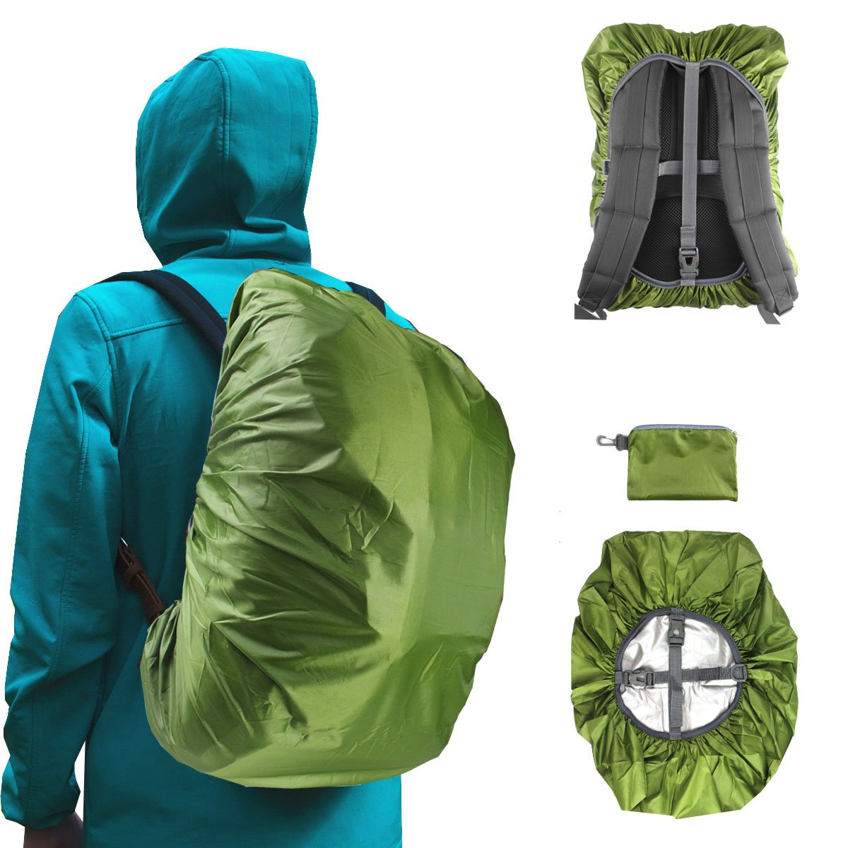 Frelaxy Waterproof Backpack Rain Cover (15-90L), Upgraded Vertical Buckle Strap & Silver Coated, Rainproof Storage Pouch Included, Perfect for Hiking, Camping (Army Green, S (for 15L-25L Backpack))