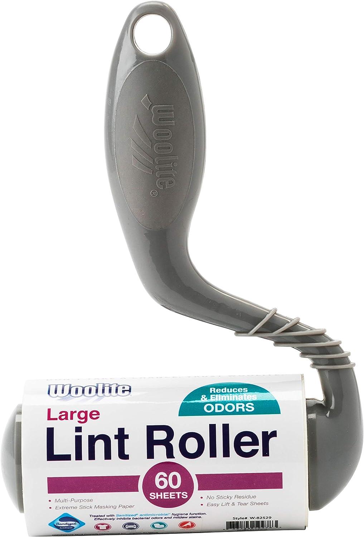 Woolite Sanitized Pro Grade 60 Sheet Large Surface Lint Roller, Pet Hair Removal, White