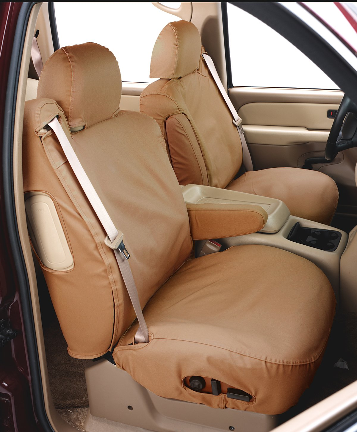 Tan Polycotton SS8426PCTN Covercraft SeatSaver Second Row Custom Fit Seat Cover for Select Ford F-150 Models