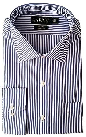 9e028ba4 LAUREN Ralph Lauren Men's Bengal Stripe Spread Collar Slim Button Down Shirt  Blue/White Button