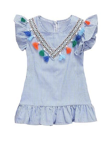 479200cd2 Amazon.com  Urkutoba Newborn Baby Kids Girl Striped Princess Dress V ...