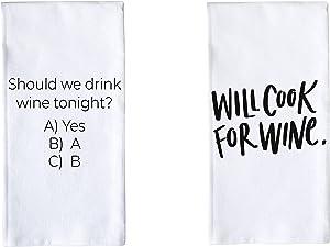Porter Lane Home Premium Cotton Tea Towels - Set of 2 (Cook for Wine/Should We Drink)