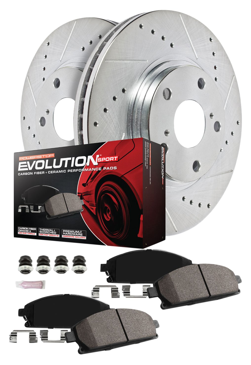 Power Stop K7237 Front and Rear Z23 Evolution Kit with Drilled//Slotted Rotors and Ceramic Brake Pads