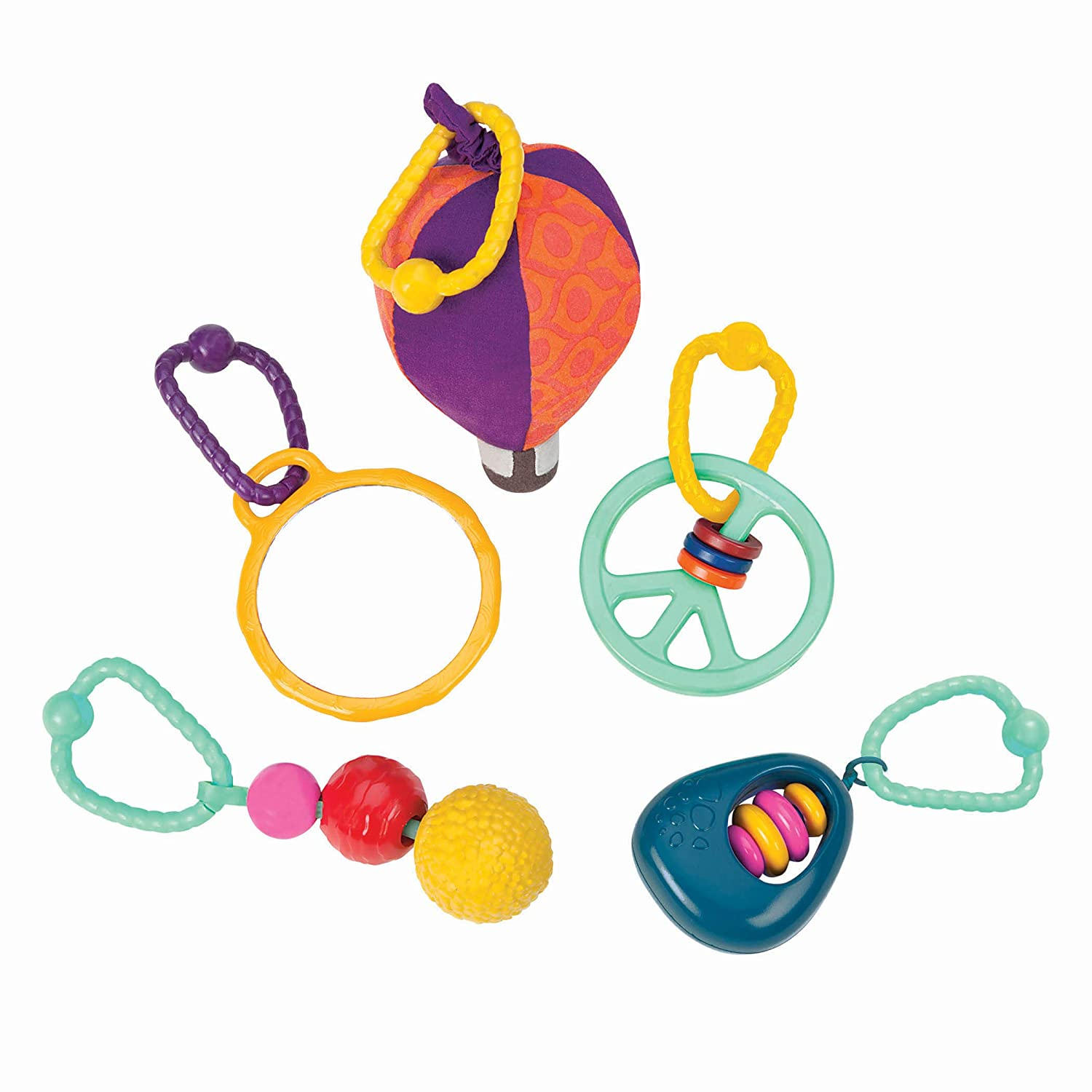 B toys by Battat Wonders Above Activity Quilt Baby Play Mat Gym with 5 Hanging Toys for Newborns