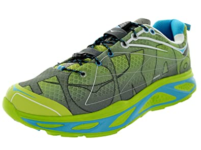 Hoka One One Women's Huaka Lime / Anthracite / Cyan Running Sneaker Shoe -  11 D