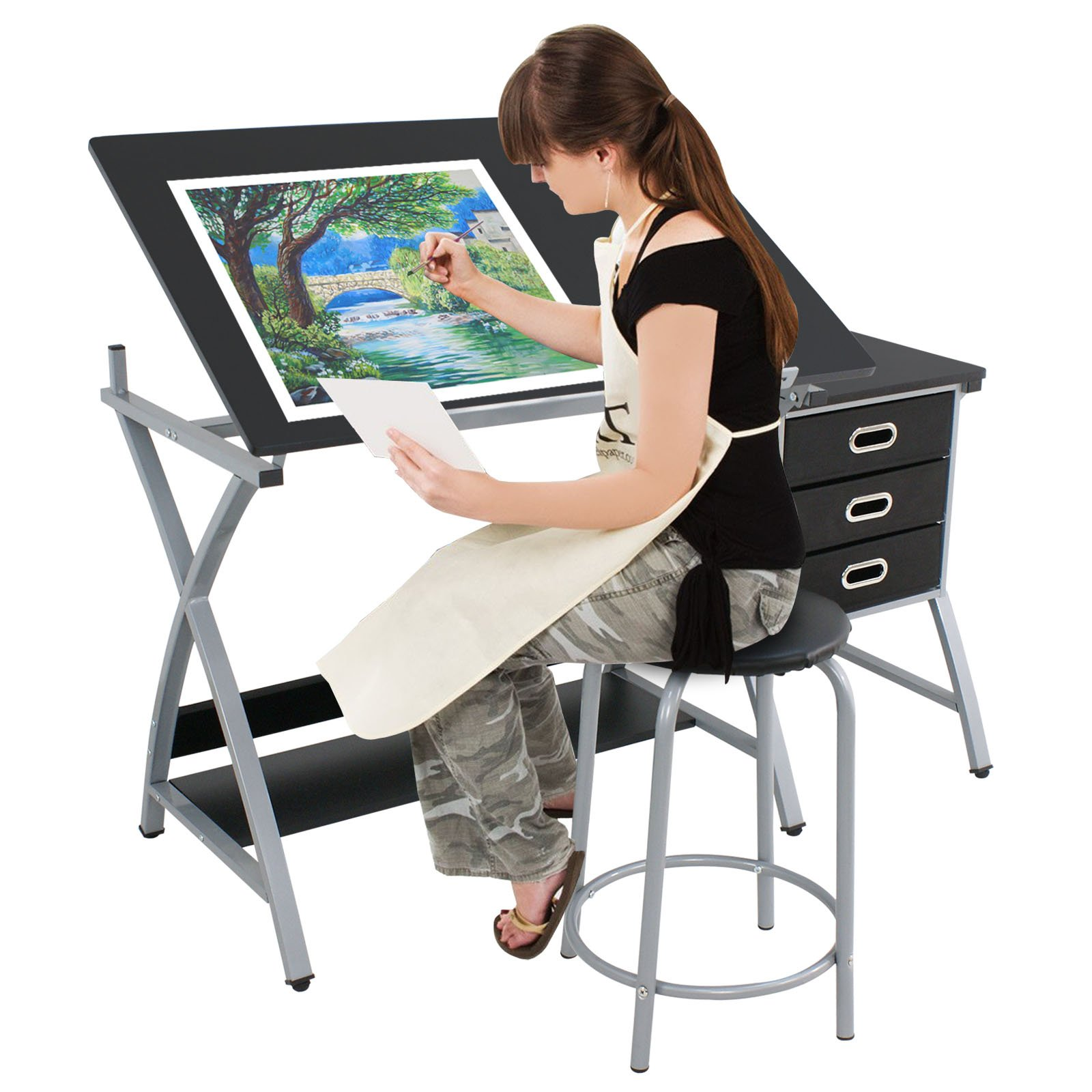 Super Deal Adjustable Drafting Table Art & Craft Drawing Desk Craft Station Art Hobby Folding w/Stool and Drawers