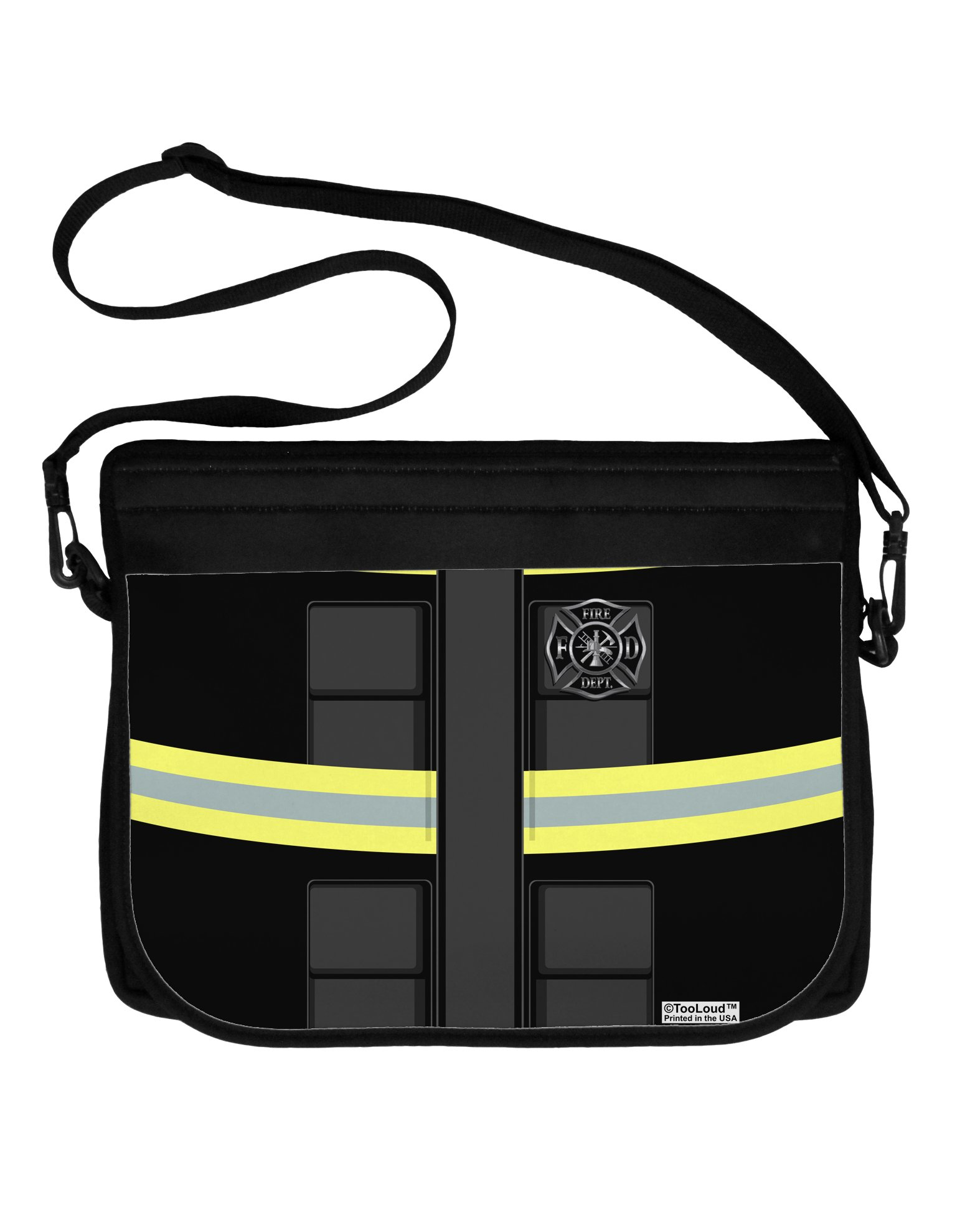 TooLoud Firefighter Black AOP Neoprene Laptop Shoulder Bag All Over Print