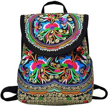 Xrten Mochila Étnica Mochila Mujer Casual Hippie Inca, Bolsa de Viaje Mochilas de Flores Étnicas y Floración de Mano de Casual