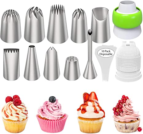 10 X-large Decorating Tips Stainless Steel Cake Decorating Icing Piping Tip Set