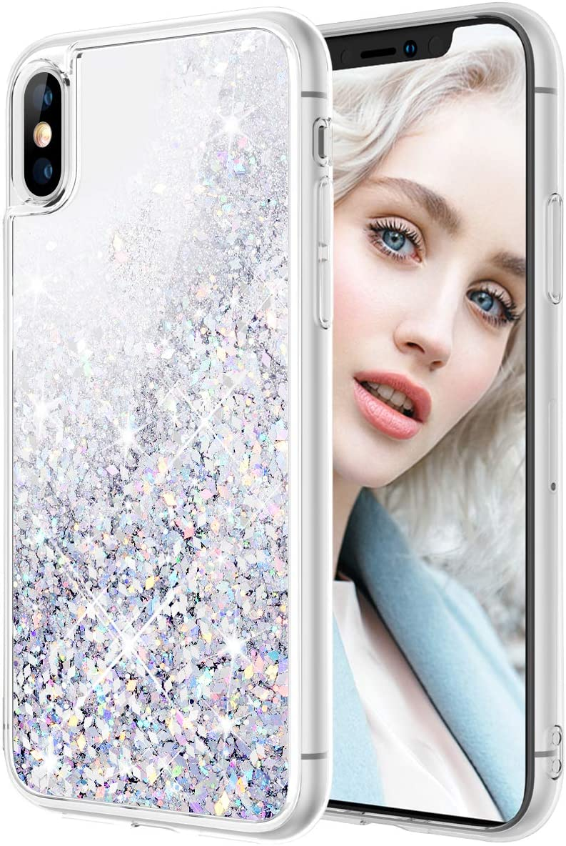 Maxdara Case for iPhone X iPhone Xs Glitter Case Liquid Flowing Luxury Bling Sparkle Glitter Shockproof Girls Women Case X XS 5.8 inches (Silver)